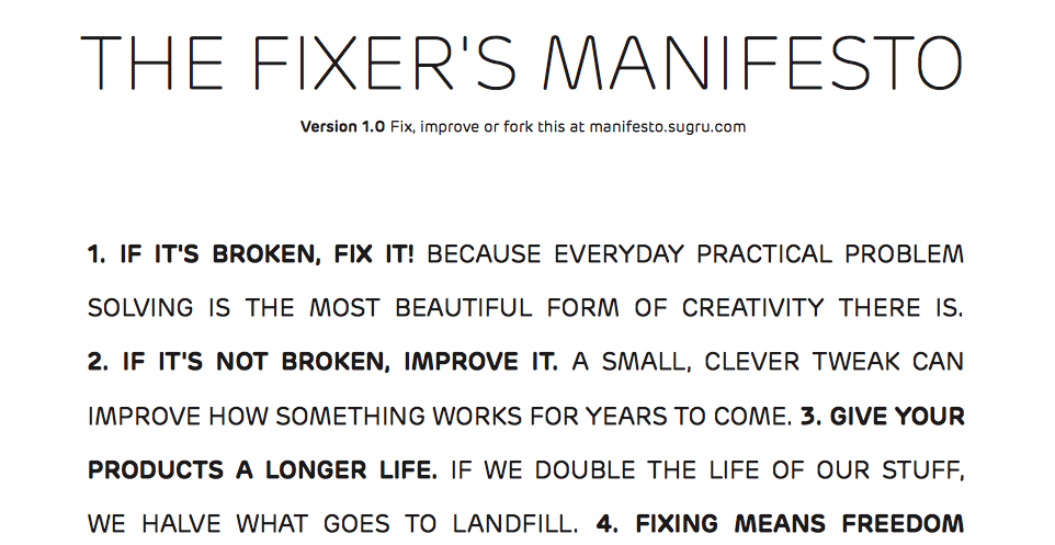 Fixer's Manifesto from Sugru