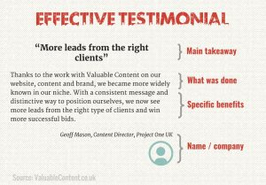 Effective testimonial copy